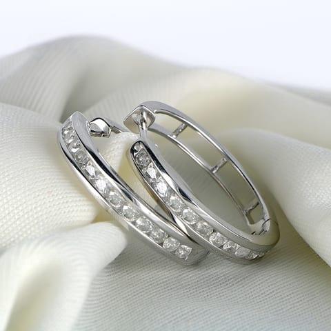 1ct TDW Diamond Hoop Earrings in Sterling Silver by De Couer
