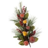 "26"" Autumn Harvest Beaded Fruit Decorative Glitter Artificial Pine Swag - Green"