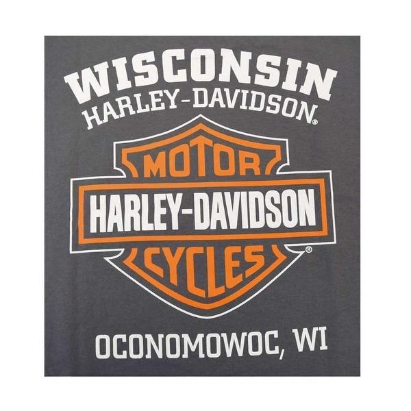 Harley-Davidson Mens Elongated Orange Bar /& Shield Charcoal T-Shirt 30291961