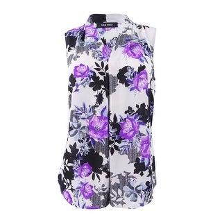 Nine West Women's Plus Size Floral-Print V-Neck Shell - Dewberry/Silver Multi