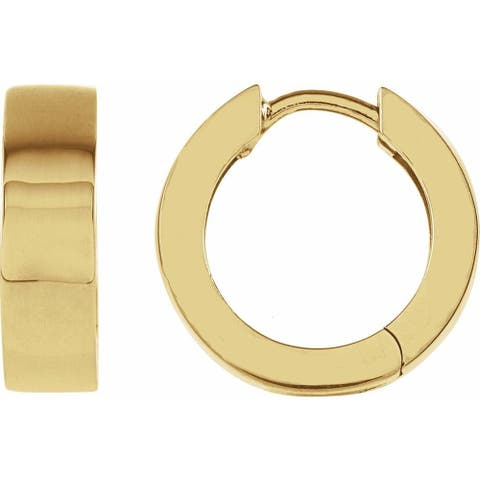 18K Yellow Gold 14.5 mm Hinged Earring for Women