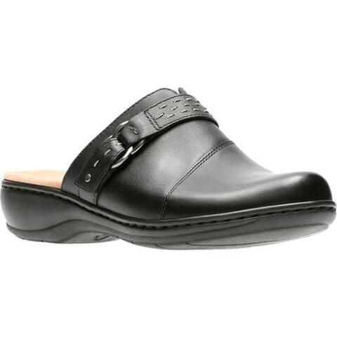 Clarks Women's Leisa Sadie Clog Black Full Grain Leather