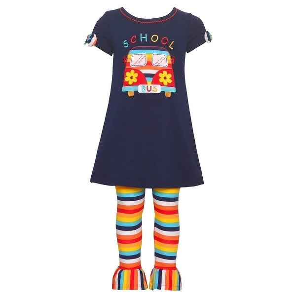8aa67b405ddc2 Shop Bonnie Jean Little Girls Navy School Bus Detail Stripe 2 Pc Legging Set  - Free Shipping On Orders Over $45 - Overstock - 23084781