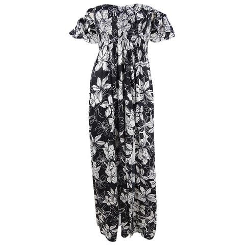 Raviya Women's Plus Size Floral Maxi Dress Swim Cover-Up - Black/White