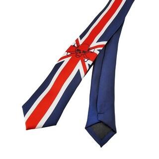 British Union Jack Flag Skull Print Skinny Necktie England Punk Rock