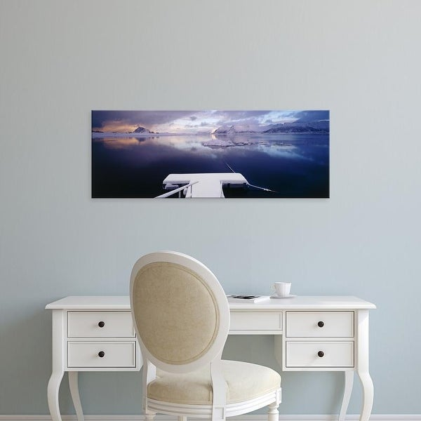 Easy Art Prints Panoramic Images's 'Snow covered pier with mountains, Lofoten, Nordland Norway' Premium Canvas Art