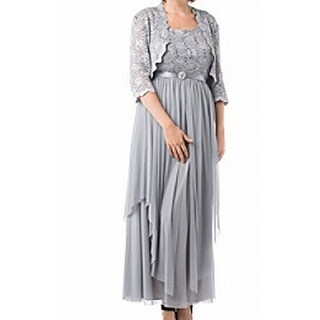 R&M Richards NEW Silver Women's Size 14 Empire Waist Lace Dress Set