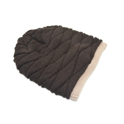 Unisex Stretchy Soft Warm Toboggan Knit Daily Slouchy Beanie Brown