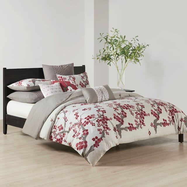 N Natori Cherry Blossom Multi Cotton Duvet Cover Set