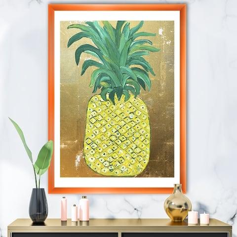Designart 'Pineapple Gold' Cottage Framed Art Print