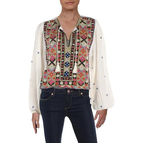 Free People Womens Enter Loveland Crop Top Embroidered Tassel