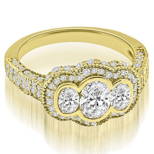 2.00 ct.tw Antique 14K Yellow Gold Antique Halo Three Stone Oval Diamond Engagement Ring HI, SI1-2
