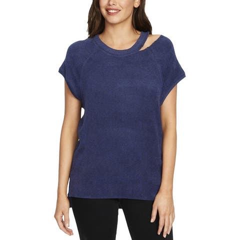 William Rast Womens Riley Pullover Sweater Cut-Out Short Sleeves