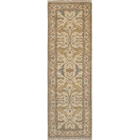 ECARPETGALLERY Hand-knotted Royal Oushak Cream Wool Rug - 2'7 x 8'1