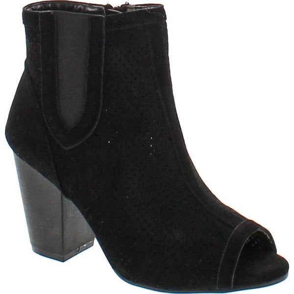 Yoki Women Juniper-59 Open Toe Suede Chunky Heel Boot