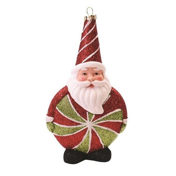 """6"""" Merry & Bright Red, White and Green Glitter Shatterproof Santa Claus Candy Christmas Ornament - RED"""