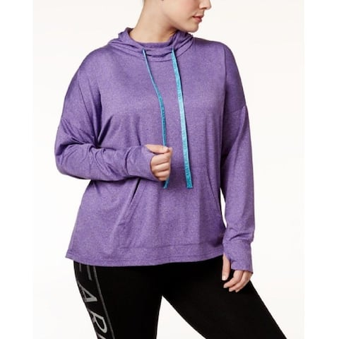 Material Girl Women's Active Plus Size Pullover Hoodie (Purple, 1X) - Med Purple