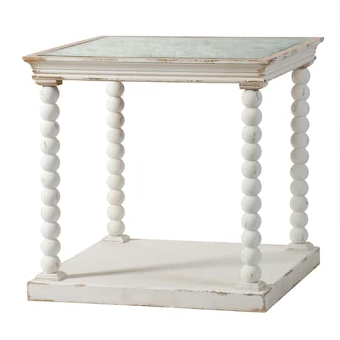 Antique White Wooden Scrollwork Square Side Table