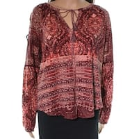 Lucky Brand Red Laced Up Printed Women's Size Medium M Tunic Blouse
