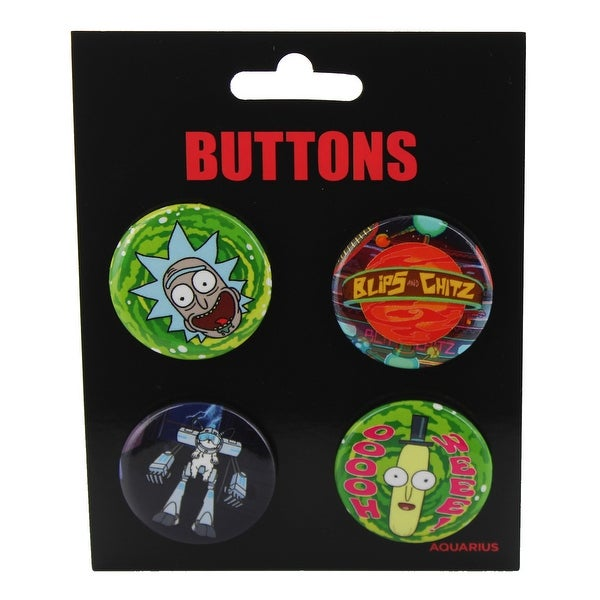 Rick and Morty Carded Button 4-Pack
