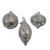 Pack of 6 Glittering Silver Finish Glass Ball/Onion and Finial Glass Ornaments 6""