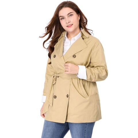 Allegra K Women Plus Size Double Breasted Long Sleeves Belted Trench Coat - Khaki
