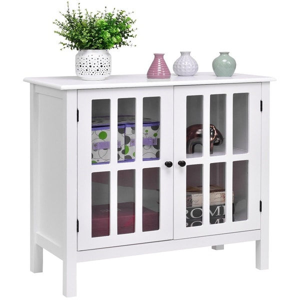 Shop Costway Storage Buffet Cabinet Glass Door Sideboard