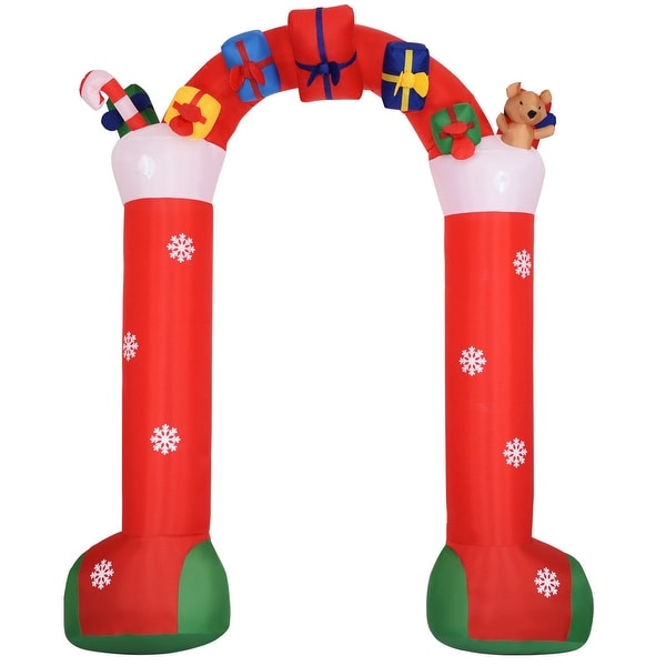 Costway 10' Inflatable Christmas Decoration Stocking Archway w/ Gift Boxes Lighted Yard