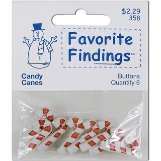 Favorite Findings Holiday Buttons-Candy Canes 8/Pkg