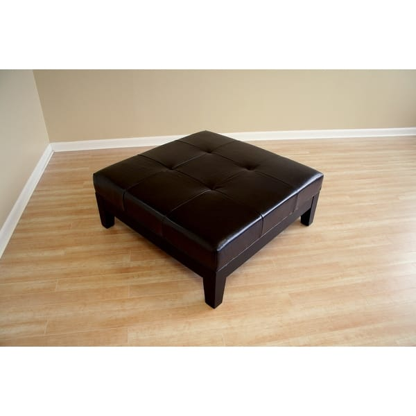 Cool Sandusky Dark Brown Large Bonded Leather Square Cocktail Ottoman Gamerscity Chair Design For Home Gamerscityorg