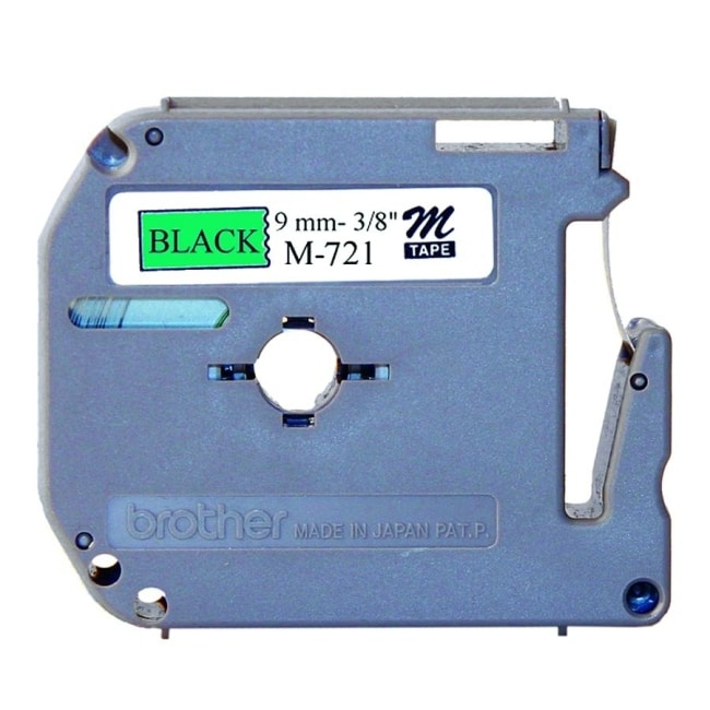 Brother intl (labels) m721 3/8in black on metallic green -  Overstock