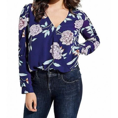 Guess Women's Blue Size Large L Floral Print V-Neck Faux Wrap Blouse