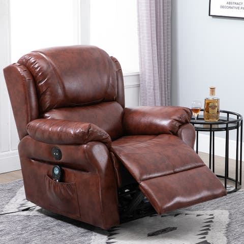 HOMCOM Power Massage Recliner Chair with Heat, Remote Control, 8 Massaging Points and PU Leather Material, Brown