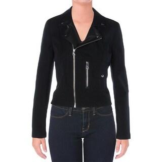 Ralph Lauren Womens Motorcycle Jacket Leather Trim Long Sleeves - m