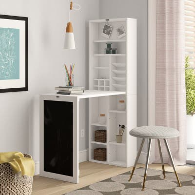 Utopia Alley White Collapsible Fold Down Desk Table with Storage