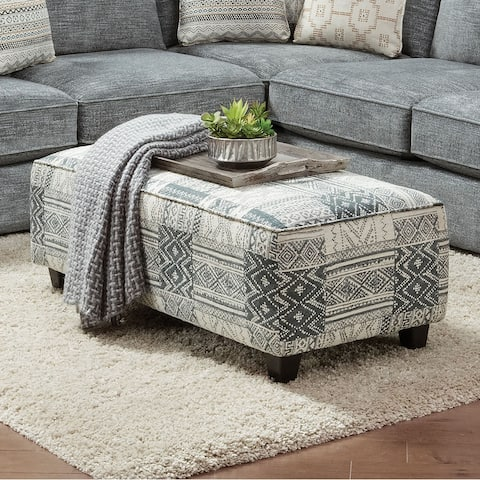Furniture of America Caledonia Transitional Blue Chenille Ottoman