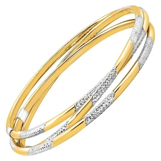 Triple Interlocking Bangles in 14K Gold-Bonded Sterling Silver - Two-tone