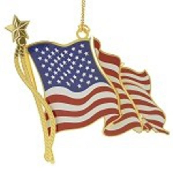 """ChemArt 3"""" Collectible Keepsakes American Flag Christmas Ornament - GOLD"""