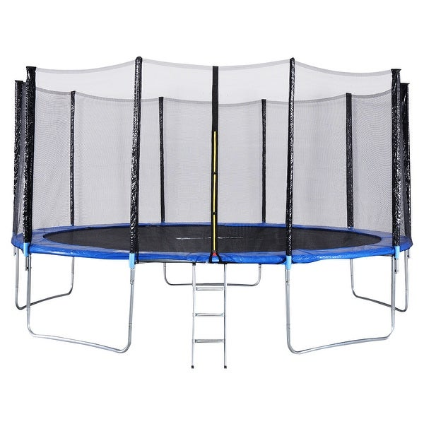 New 14ft Trampoline Combo Bounce Jump Safety Enclosure Net: Shop Gymax 15 FT Trampoline Combo Bounce Jump Safety