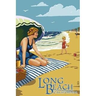Long Beach, CA - Woman on the Beach - LP Artwork (100% Canvas Tote Bag Gusset