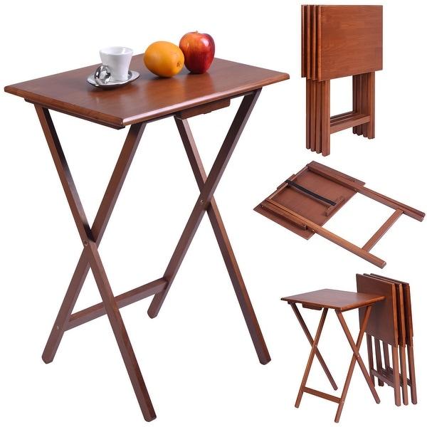 Costway Set Of 4 Portable Wood TV Table Folding Tray Desk Serving Furniture  Walnut