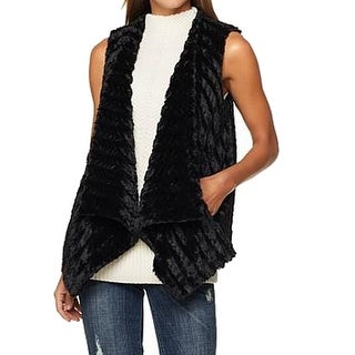 G By Giuliana NEW Black Womens Size Large L Faux-Fur Vest Jacket
