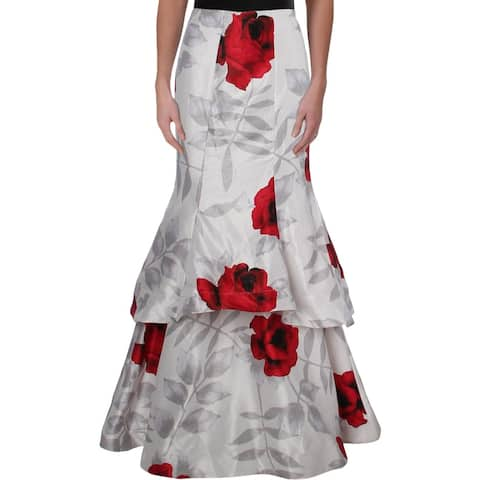 Sequin Hearts Womens Juniors Maxi Skirt Shantung Tiered - Ivory/Red - 1