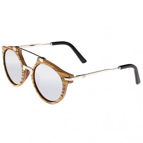 Earth Wood Petani Unisex Wood Sunglasses - 100% UVA/UVB Prorection - Polarized/Mirrored Lens - Multi
