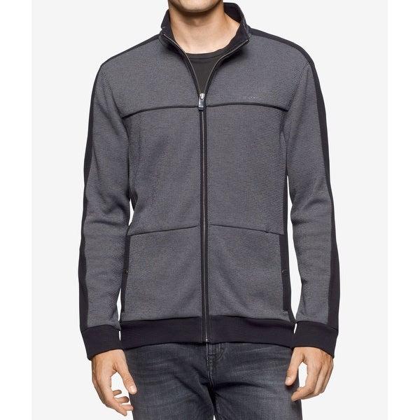 b19b2048cba7 Shop Calvin Klein NEW Black Mens Size Large L Full-Zip Mock-Neck Coat -  Free Shipping Today - Overstock - 19737857