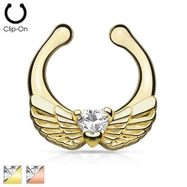 Angel Wings with Heart CZ Gold IP Non-Piercing Septum Hanger (Sold Ind.)