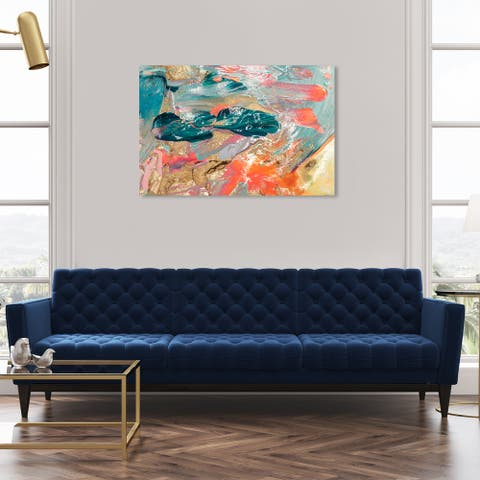 Oliver Gal 'Teal Lovers' Abstract Wall Art Canvas Print Paint - Blue, Gold
