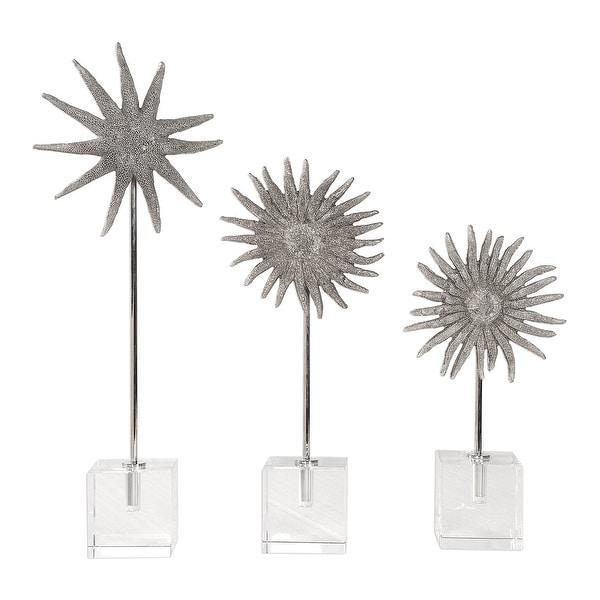 "Set of 3 Sunflower Starfish Sculptures on Crystal Cube Bases 18"" - N/A"