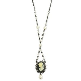 Black IP Cameo/Black Crystal/Cultured Glass Pearl Necklace - 15in