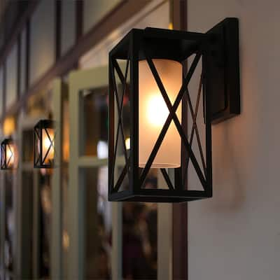 Tuke 1-Light Textured Black Metal Glass Outdoor Sconce Wall Lantern